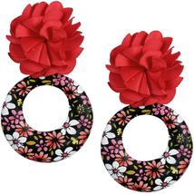 Red Floral Fabric Drop Hoop Earrings - $13.64