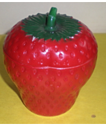 Vintage Hazel Atlas Milk Glass Red Strawberry Jam Jelly Marmalade Lidded... - $20.00