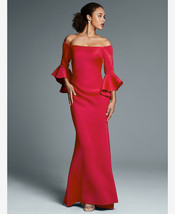 New! BETSY & ADAM ~Size 8~ Off-Shoulder Bell Sleeve Red Scuba Formal Gow... - $139.99