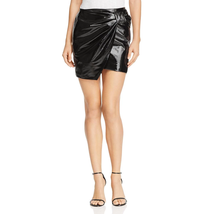 Bagatelle Women's Black Shiny Patent Leather Bow Mini Wrap Skirt Size Me... - £10.35 GBP