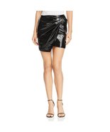 Bagatelle Women's Black Shiny Patent Leather Bow Mini Wrap Skirt Size Me... - $13.60