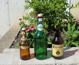 GROLSCH Green + Fischer Amber Beer Bottle Porcelain Swing Top + Corona Familiar - $29.99