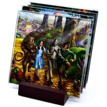 Thomas Kinkade The Wizard of Oz Prints 4 Piece Fused Glass Coaster Set w Holder image 1