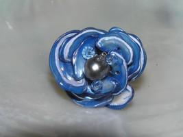 Estate Large Blue White Dyed Shell Nugget Petal Flower Adjustable Ring w... - $11.02