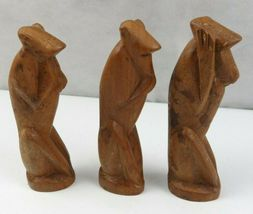 Lot of 3 Vintage African Wood Hand Carved Monkeys Figure See Hear Speak No Evil  image 6