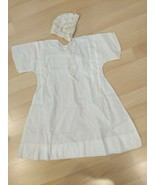 Baby's Fine Cotton Embroidered Christening Gown With Hand Crocheted Bonn... - $24.74