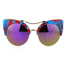 Womens Sunglasses Oversized Half Rim Round Cateye Floral Top Mirror Lens - £9.36 GBP