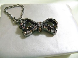 Coach Antique Silver Tone Pale Pink Stone & Flower Bow HandBag Charm KP1... - $40.40