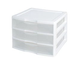 """Sterilite 3-Drawer Organizer - ClearView Wide 2093 White / Clear 10.25""""H... - $35.10"""