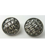 Vintage Signed Napier Clip on Round Braided Silver Tone Earrings  - $12.00