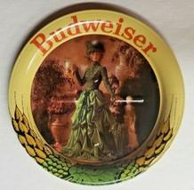"Vintage Budweiser Beer Anheuser Busch Lady in Green Metal Coasters  3.5""... - $9.99"