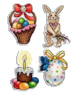Counted Cross Stitch Hand Embroidery Kit on Plastic Canvas Easter Decor - $8.54
