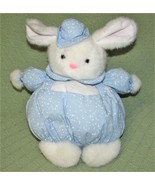 "Vintage Anna Baby Club BUNNY Roly Poly Rabbit White Blue 10"" 1993 Plush ... - $23.36"