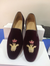 men leather Handmade petel shoes shoes purple shoes loafer velvet men embroided YHAqPHUO