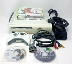 Microsoft Xbox 360 Pro 20GB Console Matte White 1 Controller All cables 5 Games - $69.77