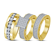 Trio Ring Set For Bride And Groom 925 Silver Round Cut White Simulated D... - $148.99