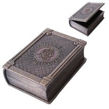 Masonic Symbol Bronze Color Painted Book Box Made of Resin - $39.59