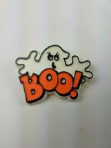 1981 Hallmark Holiday Halloween Pin White Ghost Boo! Orange Black - $9.65