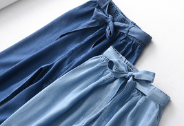 Light Blue Denim Crop PALAZZO PANTS TROUSERS Women Blue Loose Wide Leg Pants  image 9