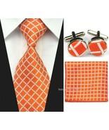 Mens Classic Silk Tie Set Wedding Necktie Cufflinks Hanky Handkerchief T... - $8.60
