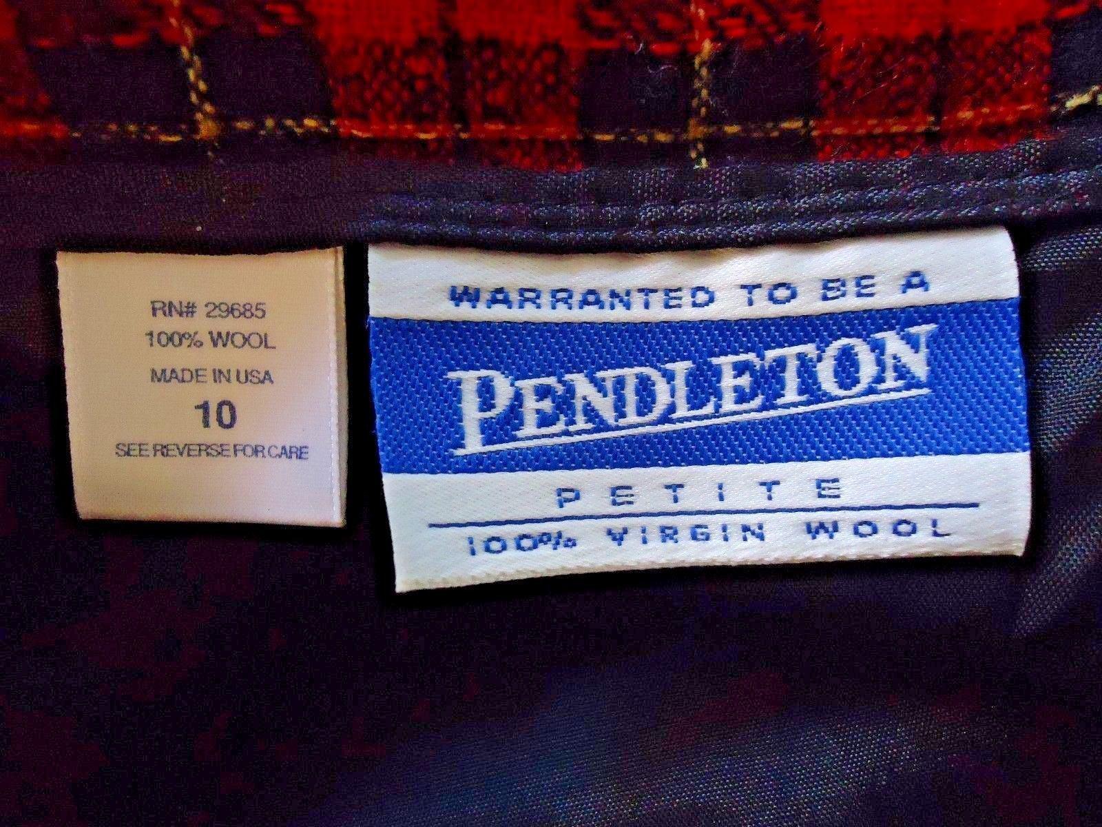 ace883573 Womens Vtg.Pendleton Size 10 P Red & Black Check 100% Virgin Wool Skirt