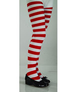 Girls Red and White Striped Tights    - $6.00