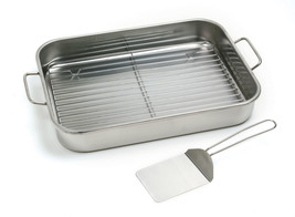 NORPRO 272 Stainless Lasagna Roast Turkey Baking Pan With Rack and Spatula - €34,67 EUR