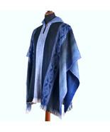 Lightweight BABY ALPACA Wool Hooded Poncho Pullover UNISEX Boho Ethnic F... - £47.82 GBP
