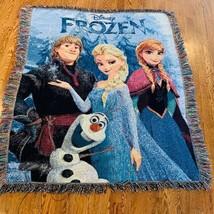Walt Disney Frozen throw blanket Anna Elsa Olaf Kristoff 53X49 rug bed d... - $62.67