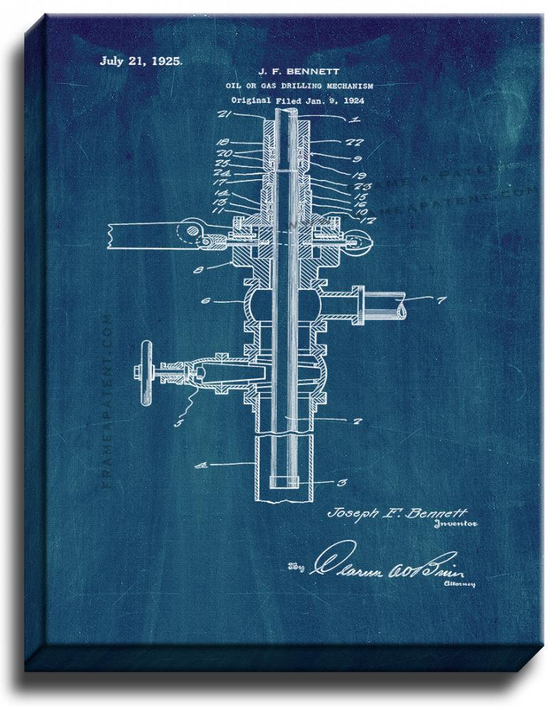 Primary image for Oil or Gas Drilling Mechanism Patent Print Midnight Blue on Canvas