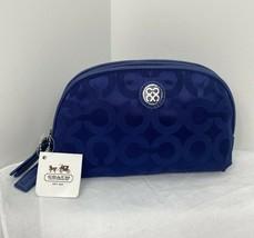New Coach Cosmetic Bag Julia Navy Blue Signature Nylon Leather Zip Top 45093 M5 - $58.79