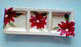 Condiment Snack Tray Christmas Poinsettia Flower Decoration - $10.10