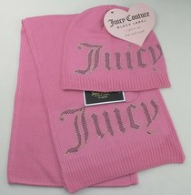Juicy Couture Black Label Women's Beanie Hat & Scarf 2 Piece Set Pink St... - $14.80