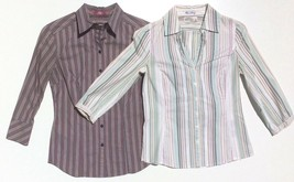 lot 2 dress shirts button 3/4 sleeve fitted stripe Old Navy size XS Expr... - $8.89