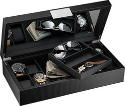 Glenor Co Watch and Sunglasses Box with Valet Tray for Men -14 Slot Luxu... - $84.14