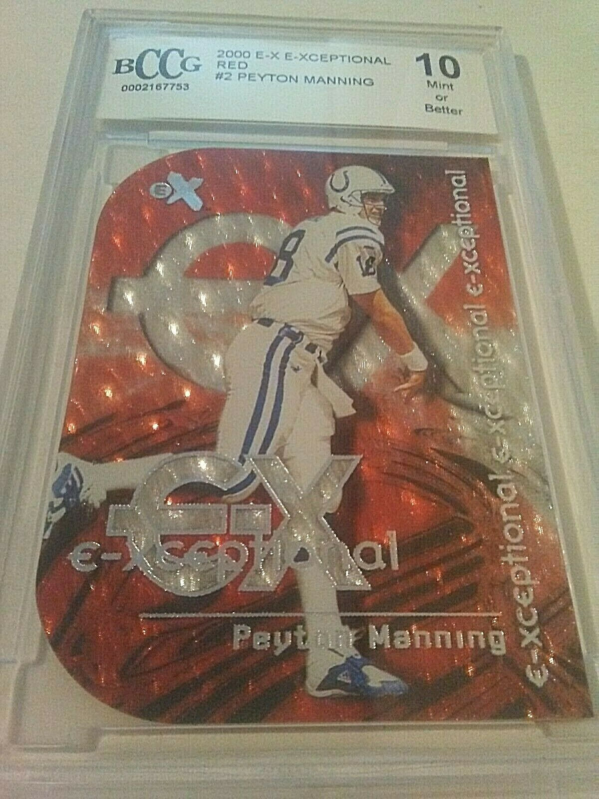 2000 Fleer EX Exceptional Red Peyton Manning Card 2 BCCG10