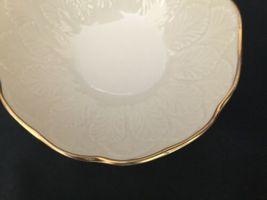 Vintage Lenox Cream Beige 24k Gold Rim Encrusted Bowl Made in USA Leaf Leaves image 4