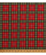 Cotton Red Green Plaid Stripes Holiday Christmas Fabric Print BTY D585.43 - $11.95