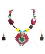 Necklace Big Pendant String Bead Jewelry Ethnic Boho Chic Fusion Wedding... - $12.86