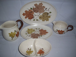 Metlox Poppytrail Woodland Gold Autum Leaf California Serving Set Platte... - $59.63