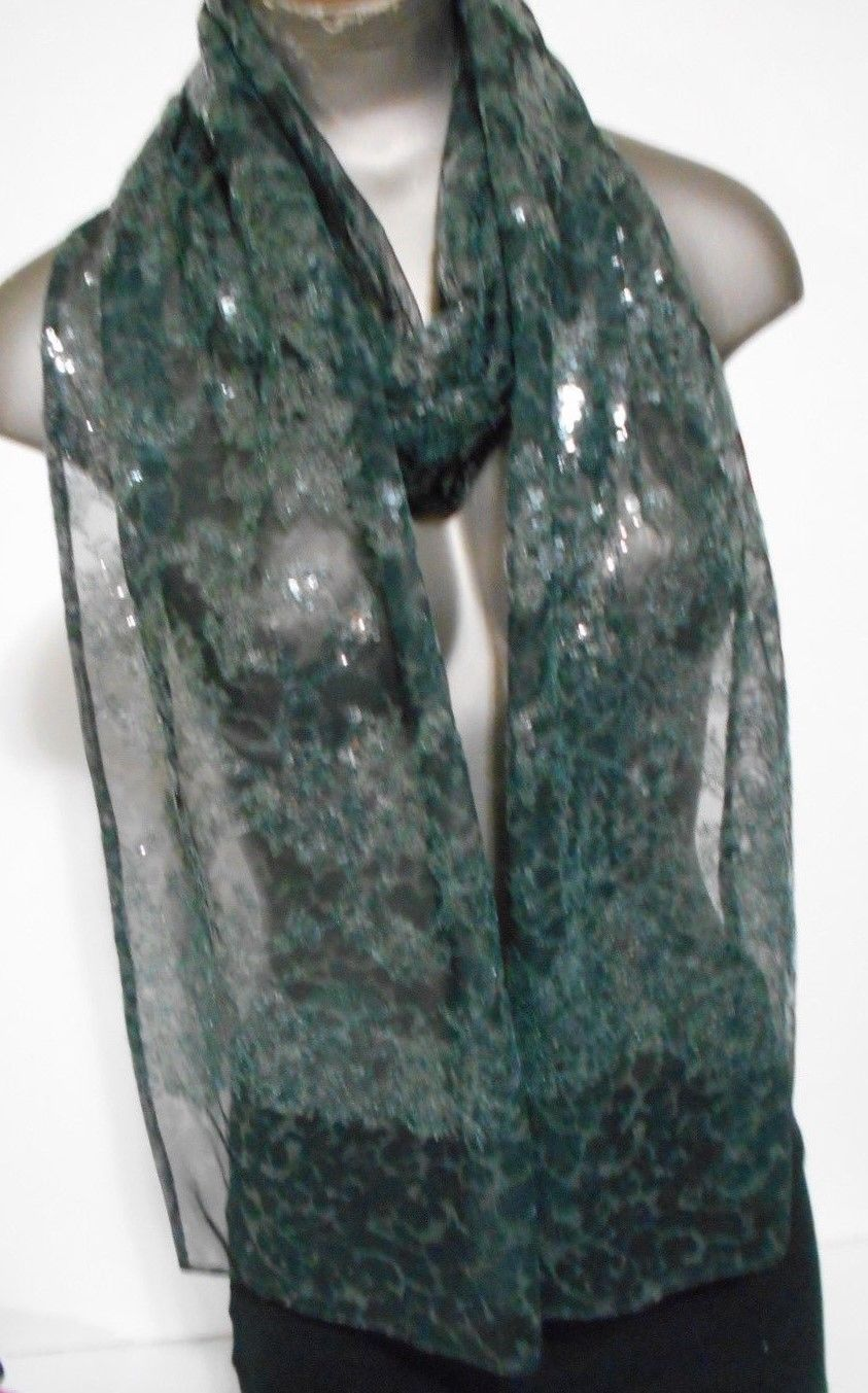 Elie Tarhari Black Sheer Clear Sequins Embroidered Scarf 80x11 - $16.79
