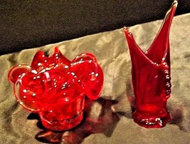 Rubino Red Glass Candle Dish and Decor AB 528-B Vintage image 2