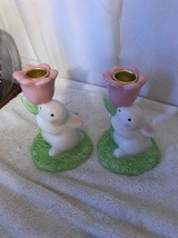 Set of 2 Hallmark White Bunny With Pink Tulip Candlestick Holders - $18.69