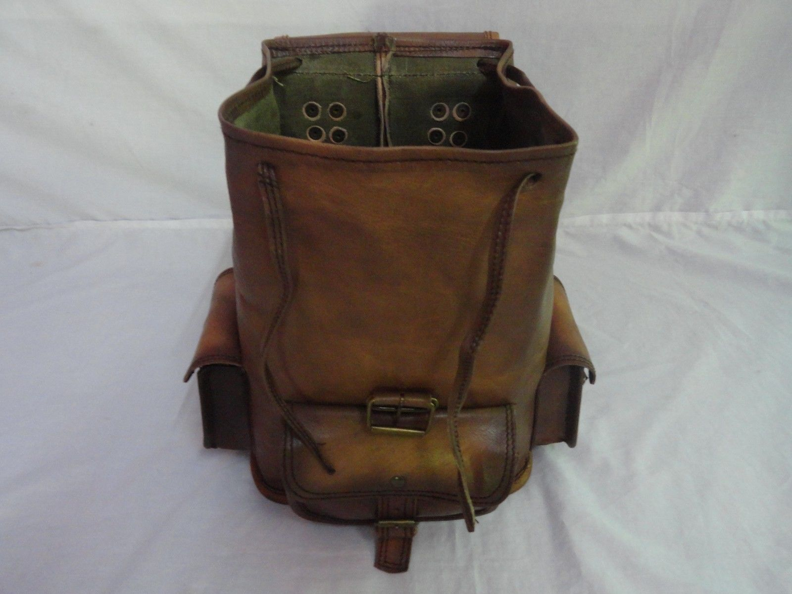 "13"" High Vintage Leather Rucksack Handmade Backpack Shoulder Bag Book Bag image 5"
