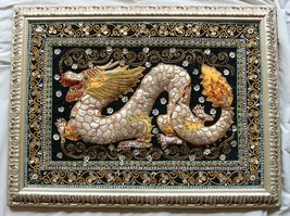 Vintage Chinese Dragon Hand Embroidered Sequin Burmese Framed Art Tapestry - $44.99