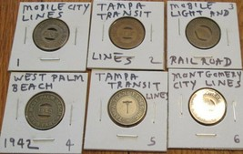 Token Transit 6 different Good one School fare Vintage 6 Bus Tokens as s... - $11.90