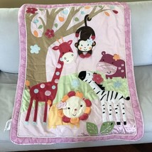 Lambs & Ivy Jelly Bean Jungle Nursery Baby Crib Comforter Blanket Safari Animals - $21.77