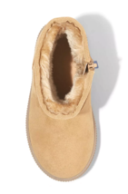 Cat & Jack Toddler Boys' Tan Faux Leather Fur Arias Winter Zipper Ankle Boots image 3