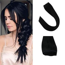 Sunny One Piece Hair Extensions Clip in 18 inch Color #1 Jet Black Clip in Human