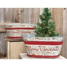 Country MERRY CHRISTMAS WASH TUBS CAN Rustic Farmhouse Primitive 2 PC Bu... - $69.99
